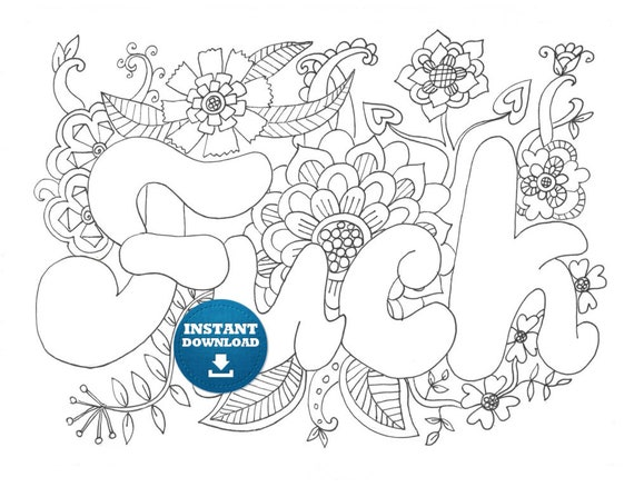 Instant Download Fuck Coloring Page Naughty Adult Coloring Etsy