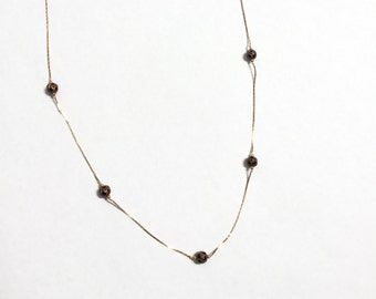 Vintage Brass Necklace with Copper Enamel Black Beads - #404