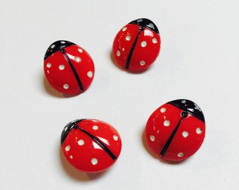 Glass Ladybug Buttons - 4 Pieces - #705