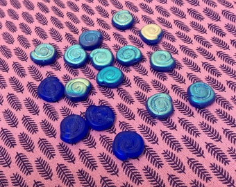 Blu Glass spiral bead w/ AB coating - 16 piece set - #776