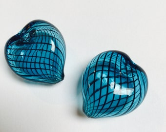Blown Glass Heart Beads in Teal - 4 Pieces - #556