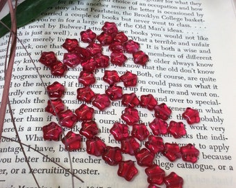 Translucent red glass stars - 50 pieces - #799