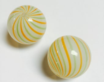 Large Multi-colored Blown Glass Bead - 2 Pieces - #559