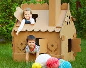 Cardboard playhouse. Creative Crafts Playhouse for kids. The best toy for creative children