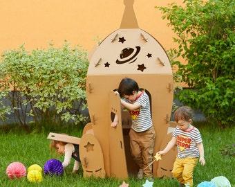 Cardboard Space Shuttle. Kids Spaceship Playhouse. Cardboard playhouse. Creative Crafts Playhouse for kids. Best Toy for Children. Eco toy