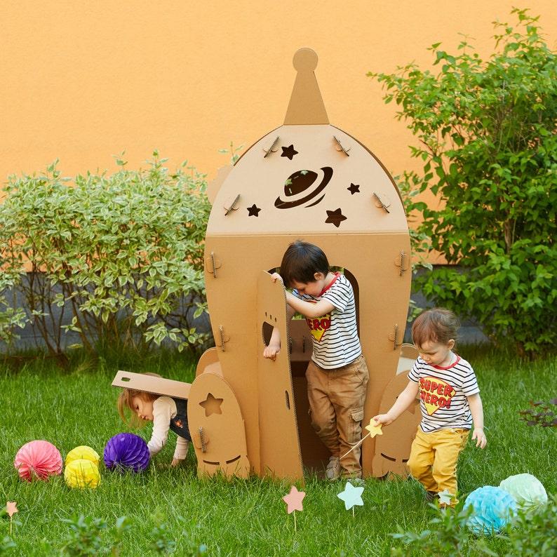 Cardboard Space Shuttle. Kids Spaceship Playhouse. Rocket image 0