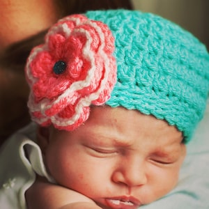 Fifth /& Mill Baby Girl; Newborn Hat; Photo Prop; Infant Hat; Baby Shower Gift; Crochet; Handmade Handmade Newborn Crochet Hat with Flower