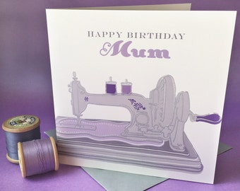 Hand engraved vintage sewing machine greetings card - happy birthday mum. Blank card. 150mm x 150mm