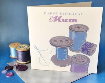 Hand engraved vintage sewing greetings card - happy birthday mum. Blank card. 150mm x 150mm