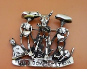 Blind Competition Pin, White Bronze, Skeletons, Cats, Cactus Hearts, Day of the Dead, Dia de los Muertos Art, Whimsical Jewelry