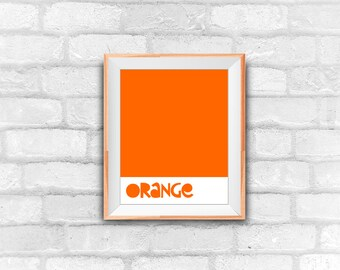 orange, color art, minimal art, instant download, printable art, wall decor, nursery decor, graphic design