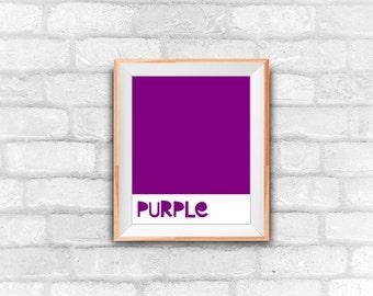 purple, purple color, minimalist art, nursery decor, instant download, graphic art