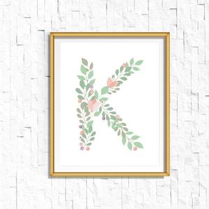 Terracotta Print Personalised Initial Print Digital Download Custom Name Print Monogram Nursery Print Boho Nursery Print