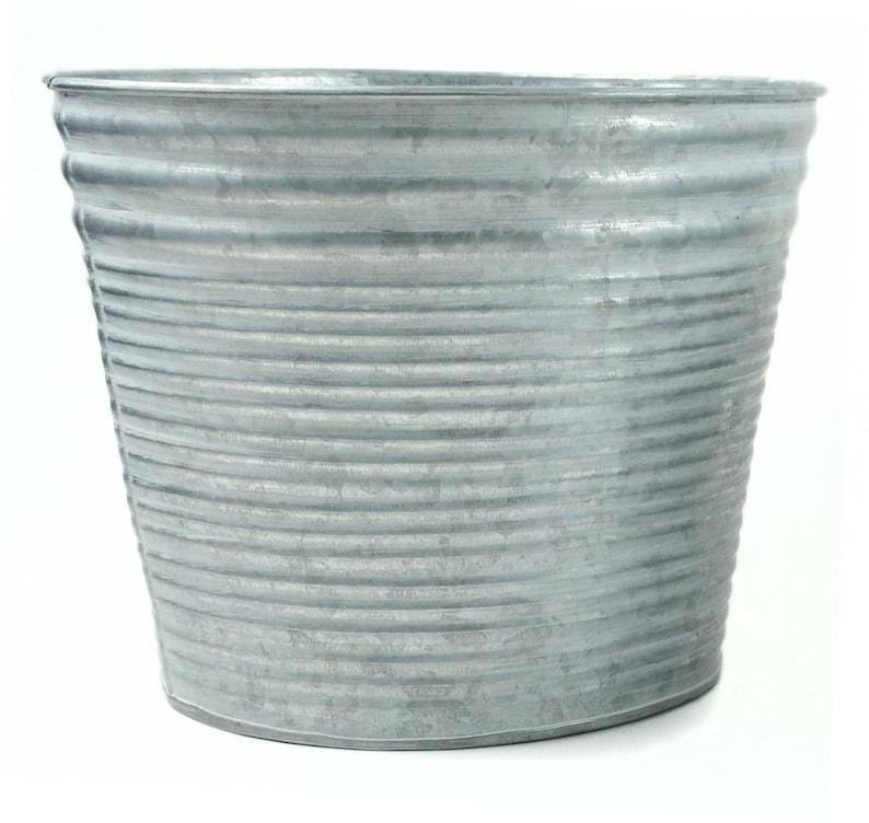 Pail Galvanized Tin Container Round Medium Floral Container Fairy Garden Miniature Tin  50940MDI Planter Towel Holder Basket Bucket