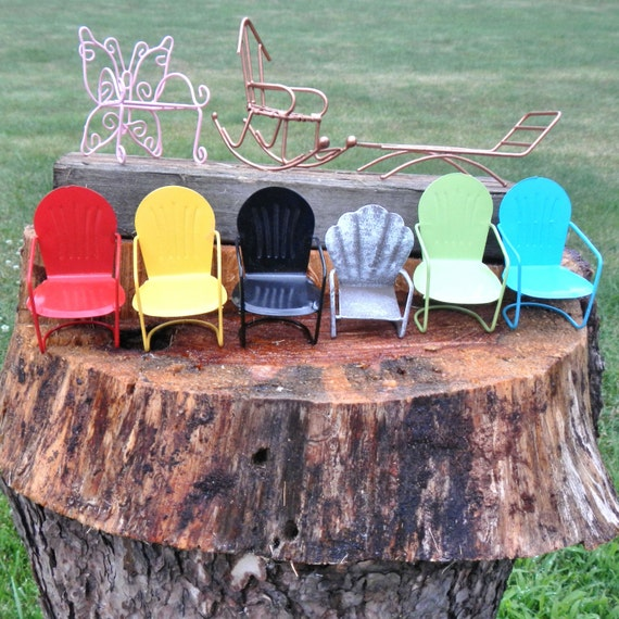 Genial Miniature Garden Lawn Furniture Butterfly Chair Glider | Etsy