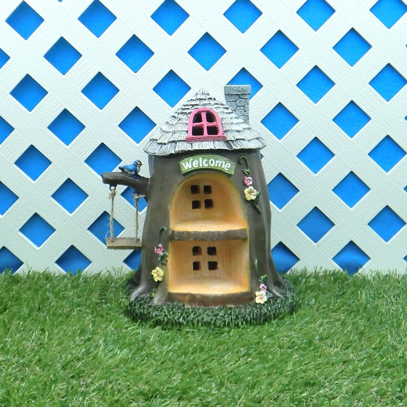Garden Figurine Fairy Garden Miniatures LED Tree House Garden Home Fairy Garden Home Tree House with Swing  #30050363D House Figurine