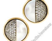 Estate Vintage 18K Yellow Gold Mabe Pearl and 3.47ctw VVS E Diamond Large Button Clip On Earrings