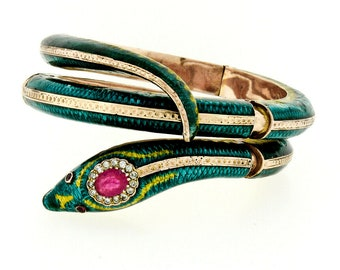 8af1a5ae3f6 Vintage 14K Rose Gold Ruby & Diamond Heavy and Wide Hinged Blue and Green  Enamel Serpent Snake Statement Wrap Bracelet