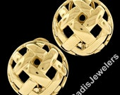 Estate 14K Yellow Gold Large Domed Round Button Omega Back Earrings w Open Woven Style
