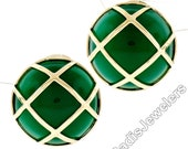 Solid 14k Yellow Gold Large Round Chalcedony Button Earrings Woven Top Pattern