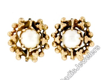 90ad3a6ac Vintage 14K Yellow Gold 5.15mm Prong Pearl Stud Earrings w/ Round Freeform  Frame