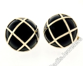 Solid 14k Yellow Gold Large Round Black Onyx Button Earrings Woven Top Pattern