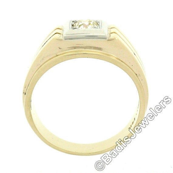 Antique Mens'  Unisex 14k Two Tone Yellow and Whi… - image 6