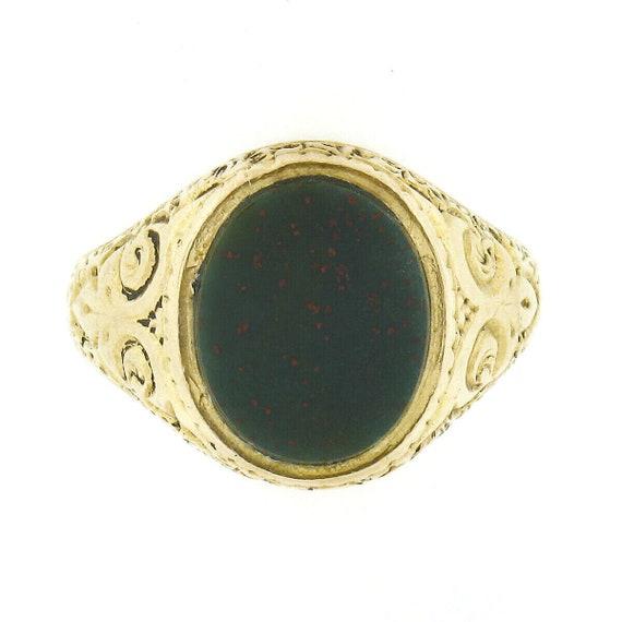 Antique Art Nouveau 18k Yellow Gold Oval Cabochon