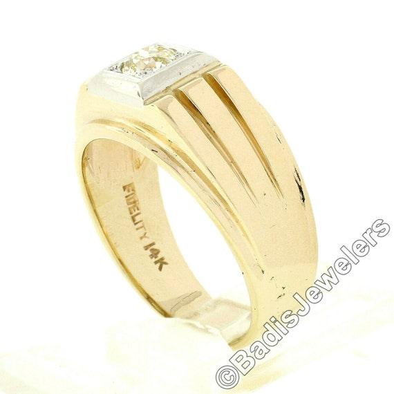 Antique Mens'  Unisex 14k Two Tone Yellow and Whi… - image 2