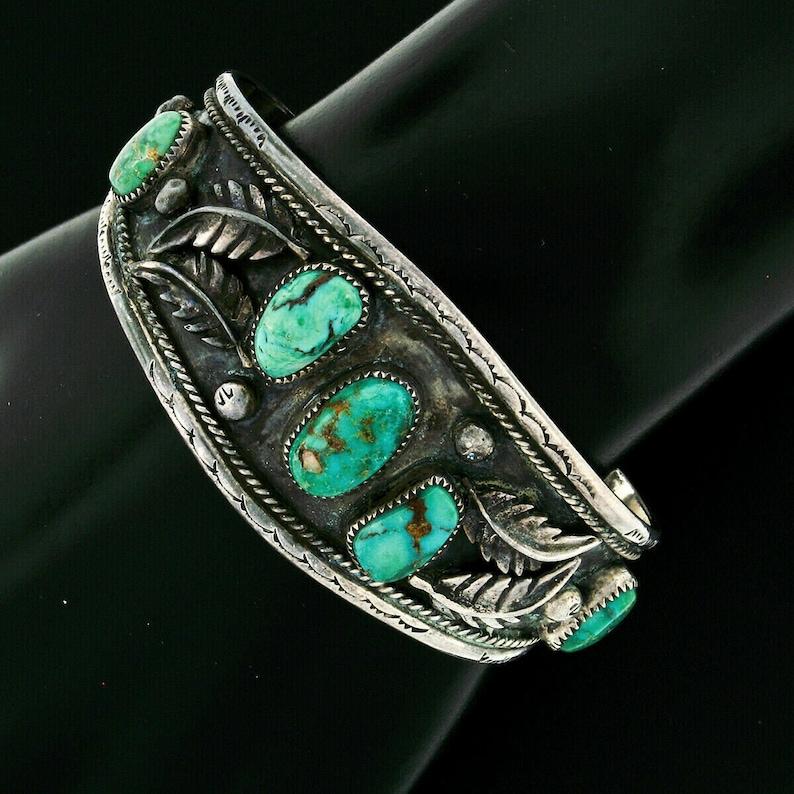Handmade Vintage Green Turquoise Detailed Etched Leaf Wide Cuff Bangle Bracelet