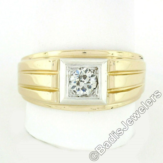 Antique Mens'  Unisex 14k Two Tone Yellow and Whi… - image 5