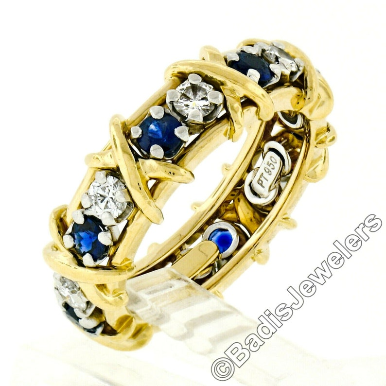 0ac8ddf54abe6 Estate Tiffany & Co. Schlumberger 18k Yellow Gold and Platinum w/ 1.39ctw  Sapphire and Diamond Eternity X Wedding Band Ring