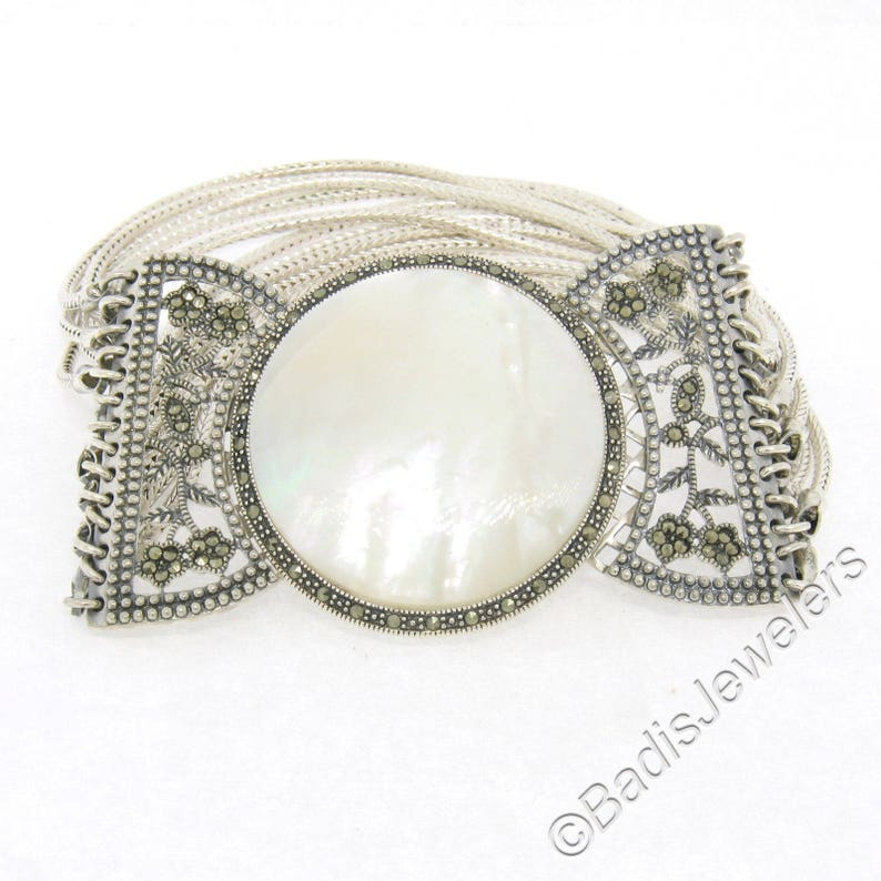 7.5 Sterling Silver Marcasite Drenched Large Round Cabochon Cut Mother of Pearl Stone w Multi Franco Link Strand Chain 1.5in Wide Bracelet