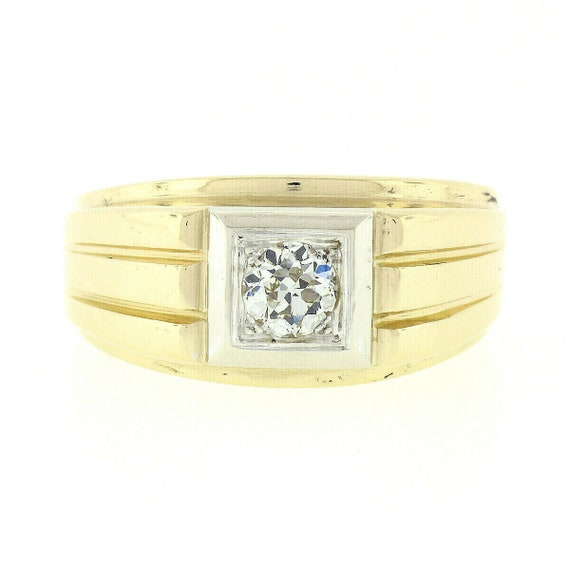 Antique Mens'  Unisex 14k Two Tone Yellow and Whi… - image 1