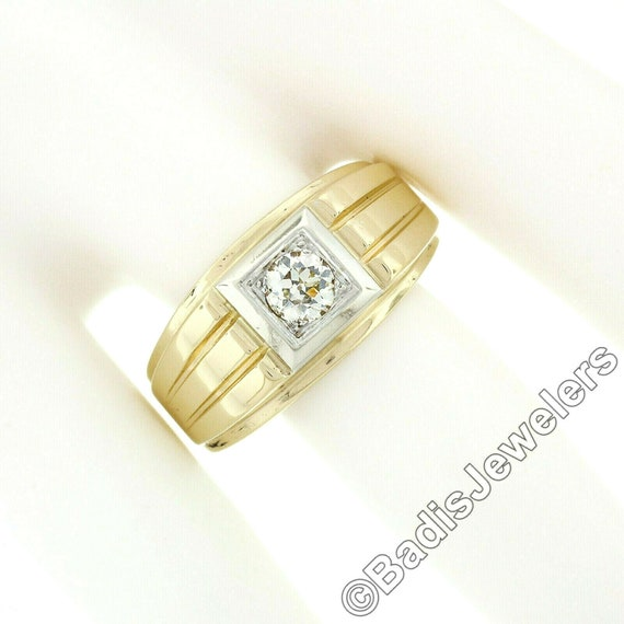 Antique Mens'  Unisex 14k Two Tone Yellow and Whi… - image 4