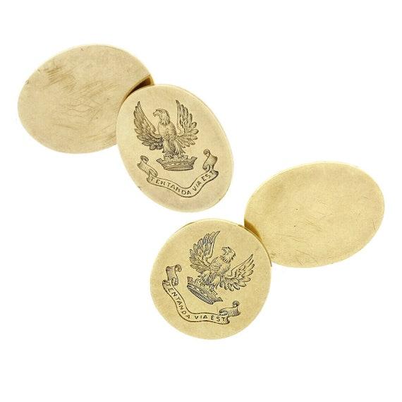 10k Yellow Gold Oval Cuff Links Monogramed Karat Kt Solid Vintage Bean Back Engraved G E S 5.32g