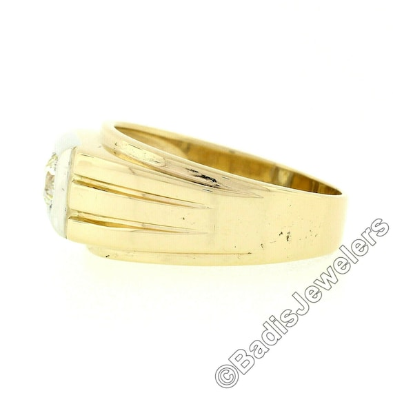 Antique Mens'  Unisex 14k Two Tone Yellow and Whi… - image 7