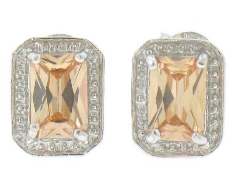 New Classy Simple .925 Sterling Silver Rectangular Cut Prong Set Orange Citrine Stud Earrings with Beaded Border and Butterfly closuers