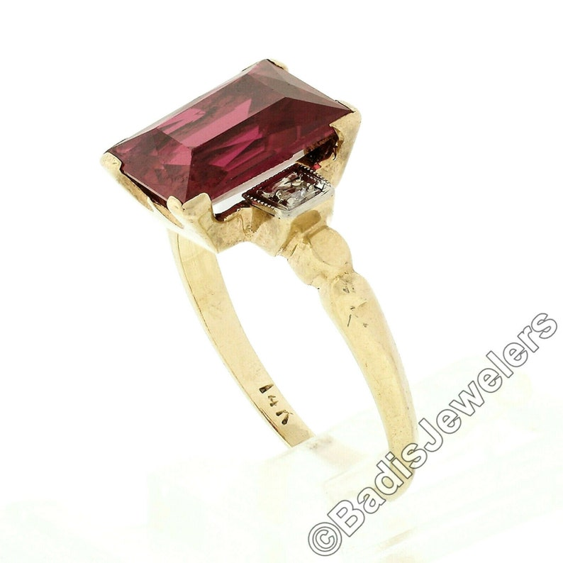 Vintage Petite 14k Yellow Gold Rectangular Prong Set Red Stone /& .04ct Old Single Cut Diamond Statment  Ring With Patina