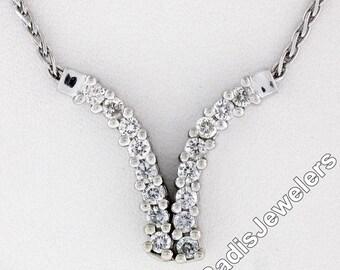 "Vintage 14K White Gold 0.65ctw Round Brilliant Cut Prong Set Diamond 18.5"" ""V"" Chevron Pendant Wheat Link Chain Necklace"