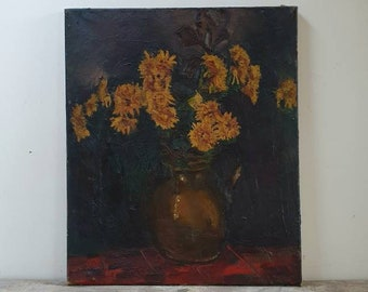 Vintage French still life oil painting yellow floral oil painting dark moody flower oil lainting France 1900 shabby chic wonky