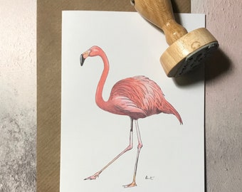 A6 Flamingo print card | recycled paper | textured brown envelopes