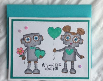 Anniversary Card, Valentine Card, Valentines Day Card, Card for Husband, Geek Anniversary, I Love You Card, Robot Anniversary,  Robot Love