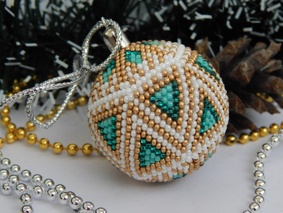 Christmas Ornaments Ball Decor Beaded Balls Gift For Wife Tree Etsy