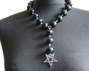 Black Wooden Necklace with inverted pentagram and stainless steel pendant // Antichrist Jewellery // Heathen Accessories // Occult Jewellery