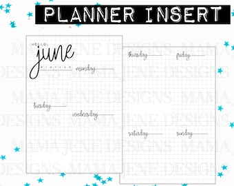A5 Planner Insert - Weekly Bujo Insert, 12 Month Weekly Inserts - Bujo Planner Pages - Printable Bullet Journal Pages