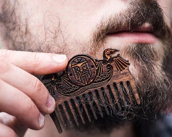 Viking Wooden Beard Comb | Odin | Pocket Comb | Gift for Him