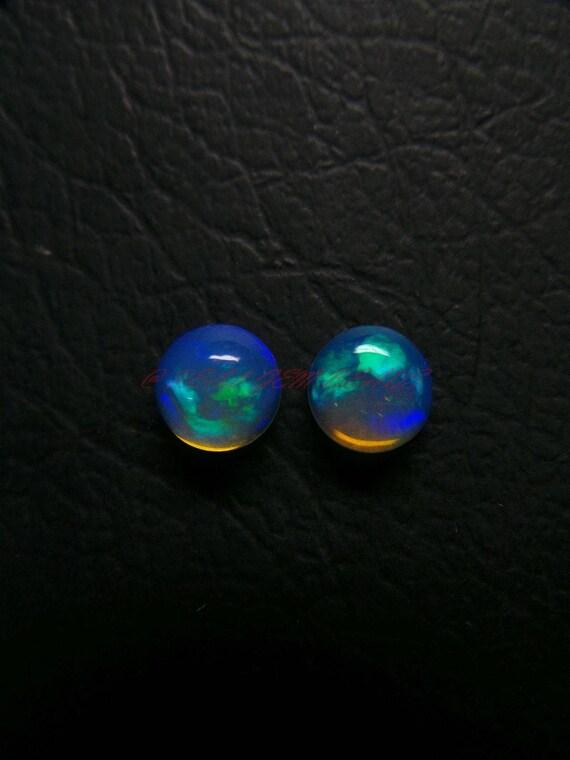 1 paire, Super naturelle Ethiopian Opal Cabochons, lisses, Ethiopian Opal Cabochons ronds lisses, Cabochons, 7 MM, meilleur couleurs jeu, Ethiopian Opal Cabochon 800914