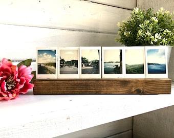 6 Photo Holder Fujifilm instax 8, 9 & 11 mini film / mini Polaroid Film Wood Desk Photo Holder Frame