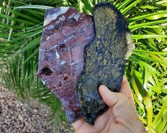 2 rock slabs, lapidary rough,raw material, red jasper slab, black and gold jasper slab, rock slice, cut rocks, rock for cabbing,